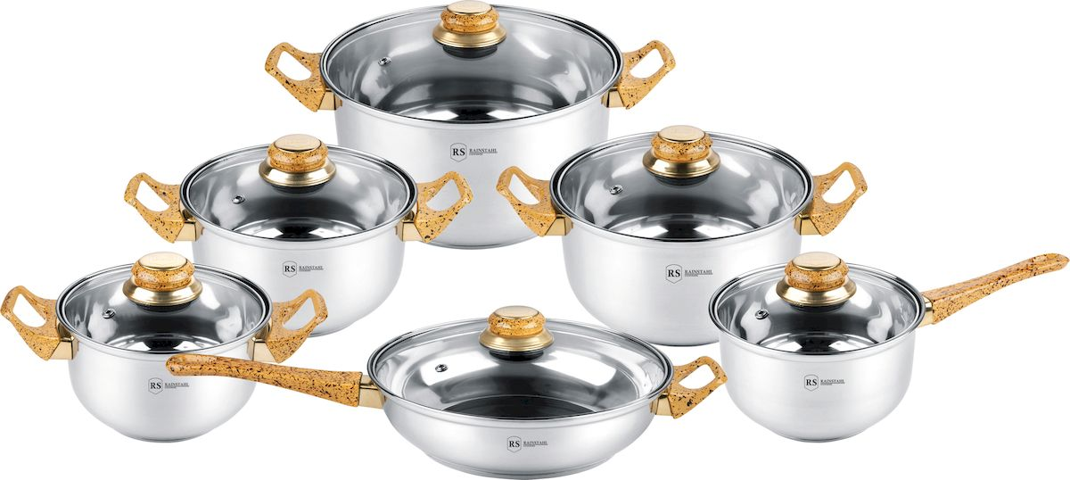 Набор посуды Rainstahl, 12 предметов. 1230-12RS/CW MRB1230-12RS/CW MRBНабор посуды из высококачественной нержавеющей стали с термоаккумулирующим капсульным дном. Состав набора посуды: ковш с крышкой: 16 х 9,5 см - 1,8 л.; кастрюля с крышкой: 16 х 9,5 см - 1,8 л.; кастрюля с крышкой: 18 х 10,5 см. - 2,7 л.; кастрюля с крышкой: 20 х 11,5 см. - 3,6 л.; кастрюля с крышкой: 24 х 13,5 см. - 6,1 л; сковорода с крышкой: 24 х 6,5 см. - 2,8 л.