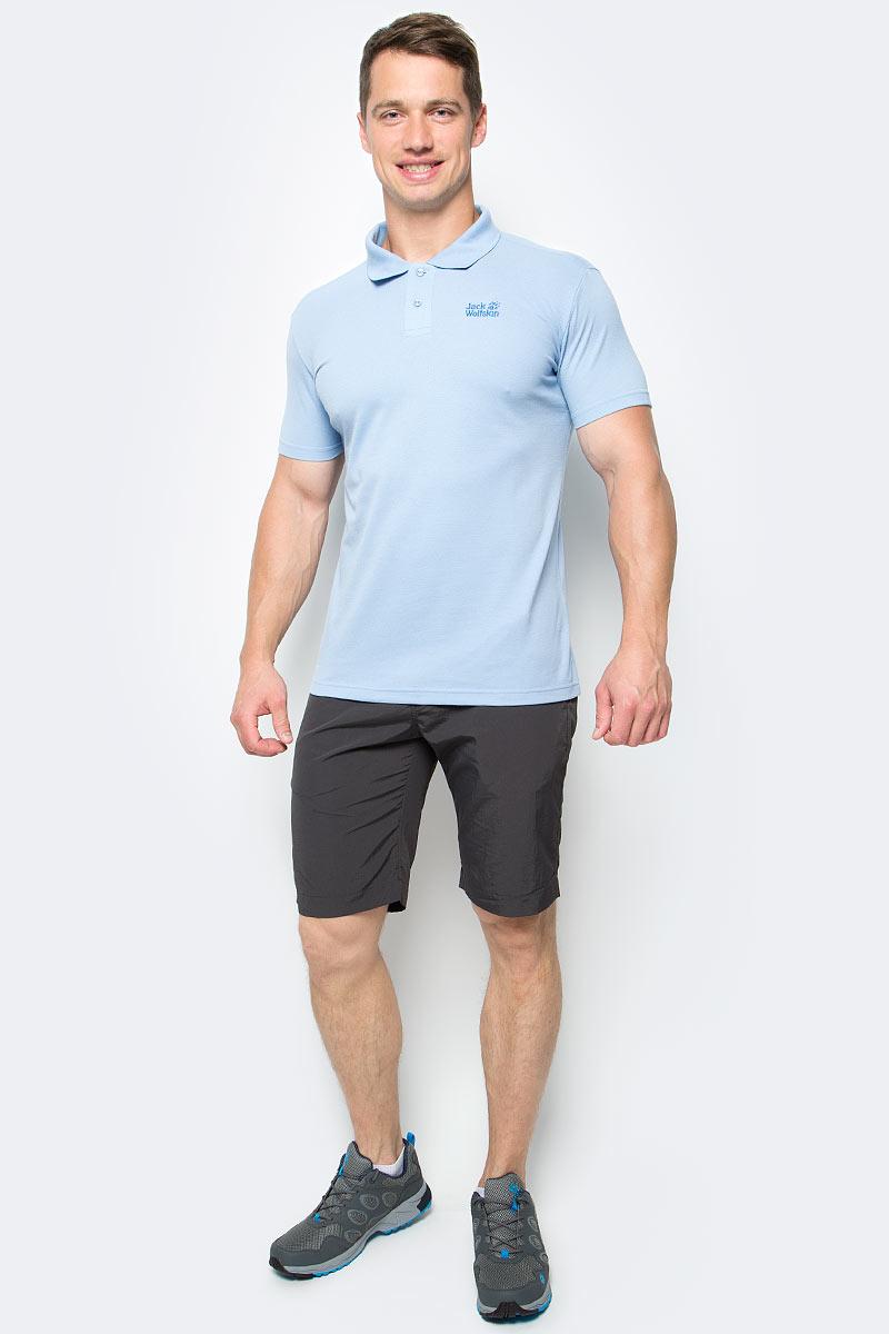 Поло мужское Jack Wolfskin Pique Polo M, цвет: голубой. 1804652-1261. Размер XL (52) платье jack wolfskin wahia dress цвет коралловый 1502892 2043 размер xl 50 52