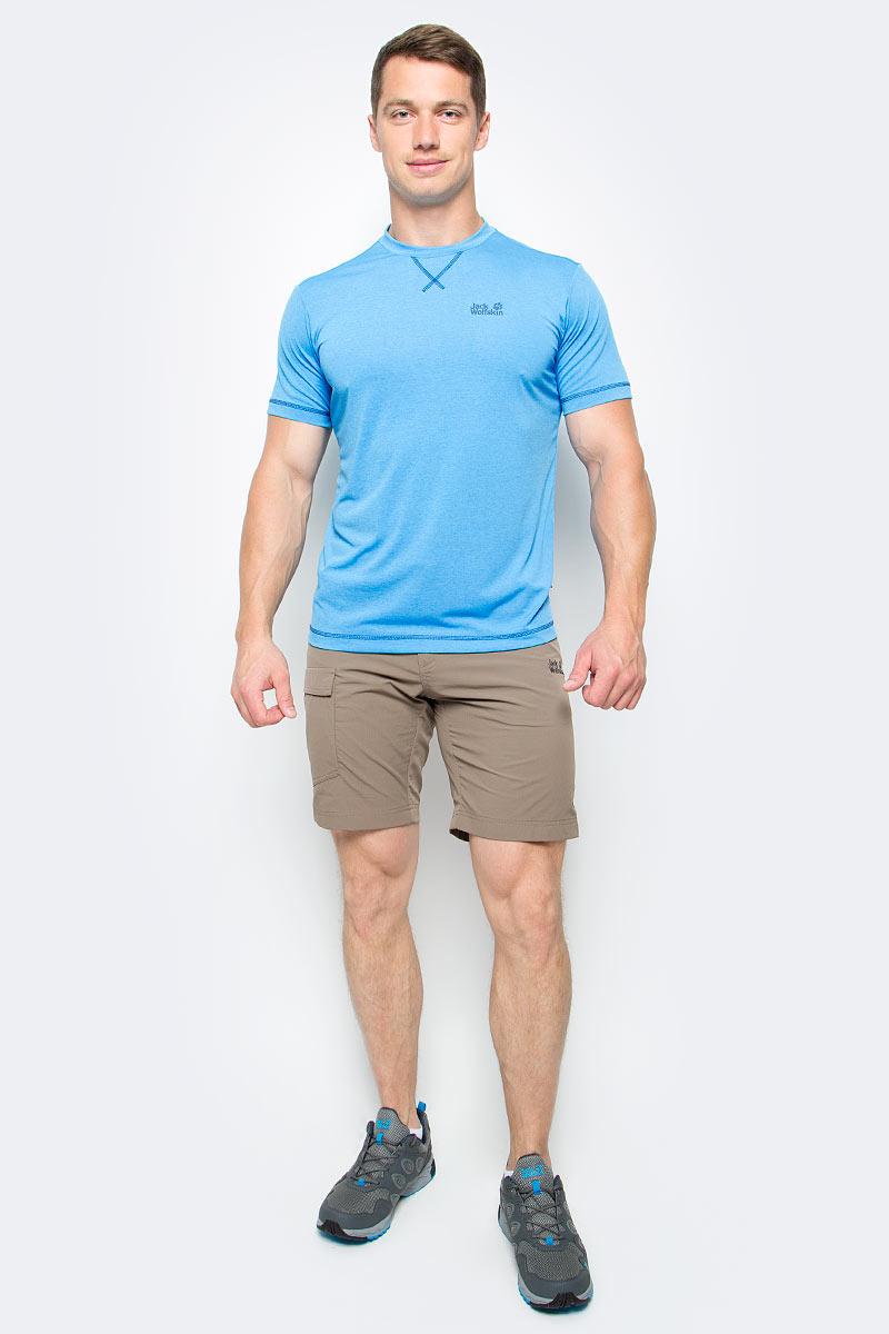 Футболка мужская Jack Wolfskin Crosstrail T M, цвет: голубой. 1801671-1651. Размер L (48/50)1801671-1651Футболка мужская Crosstrail T M изготовлена из 100% полиэстера. Ткань приятно охлаждает кожу во время интенсивных нагрузок и предотвращает появление неприятного запаха. Когда вы выкладываетесь на все сто процентов во время тренировок или походов, ваша футболка активна - она быстро отводит влагу наружу и неизменно обеспечивает ощущение сухости при носке. Модель имеет круглый вырез горловины и короткие стандартные рукава. Футболка дополнена логотипом бренда.