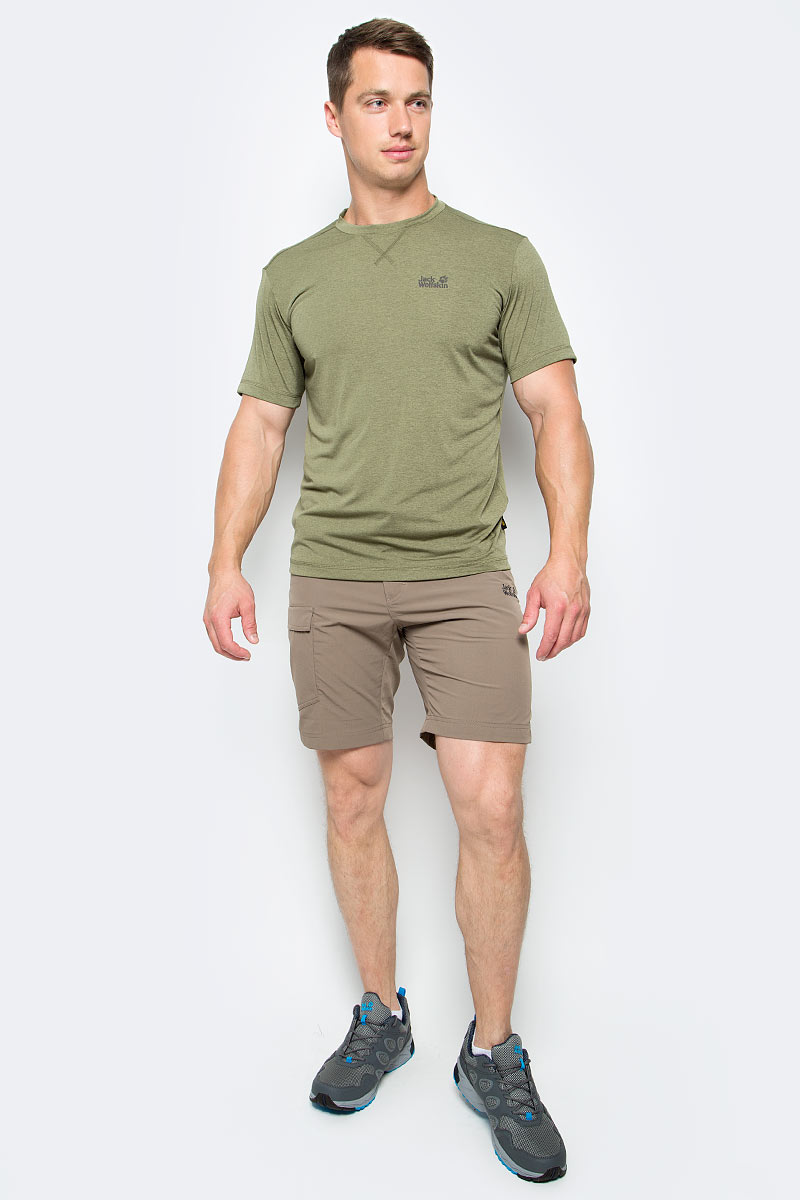 Футболка мужская Jack Wolfskin Crosstrail T M, цвет: оливковый. 1801671-5033. Размер L (48/50) платье jack wolfskin wahia dress цвет коралловый 1502892 2043 размер xl 50 52