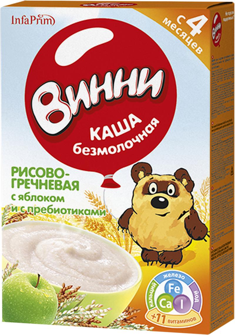 Винни каша Рисово-гречневая с яблоком и с пребиотиками безмолочная, с 4 месяцев, 220 г, Детское питание  - купить со скидкой