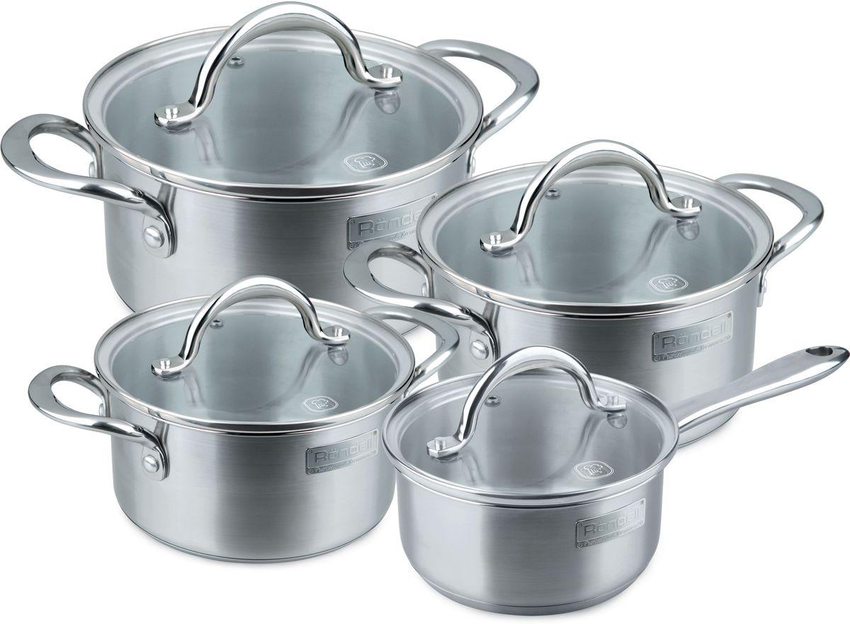 Набор посуды Rondell Destiny, цвет: стальной, 8 предметовRDS-744В набор посуды Rondell Destiny входит 8 предметов: 3 кастрюли: 1,8 л., 2,7 л., 4,8 л., ковш: 1,2 л., 4 крышки. Изделия выполнены из высококачественной нержавеющая стали 18/10. Толщина стенок 0,5 мм. Тройное вштампованное, а затем вплавленное дно 5,0 мм. Матированная обработка внешней поверхности.Отметки литража на внутренней поверхности посуды. Стильный брендированный шильдик на корпусе. Крышка из термостойкого стекла с отверстием для выпуска пара. Литые аксессуары из нержавеющей стали.Надежное клепочное крепление.Прилагается буклет с рецептами.Подходит для всех видов плит, включая индукционные. Подходит для посудомоечной машины. Диаметр кастрюли: 18 см., 20 см., 24 см. Диаметр ковша: 16 см.