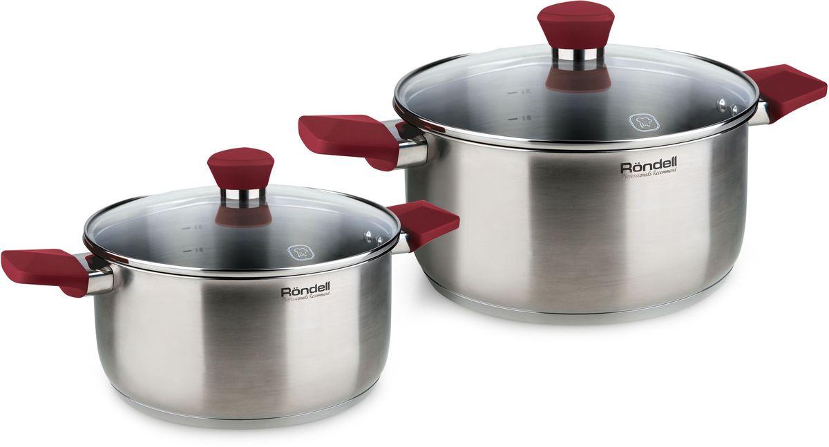 """Набор посуды Rondell """"Strike"""", цвет: стальной, 4 предмета"""