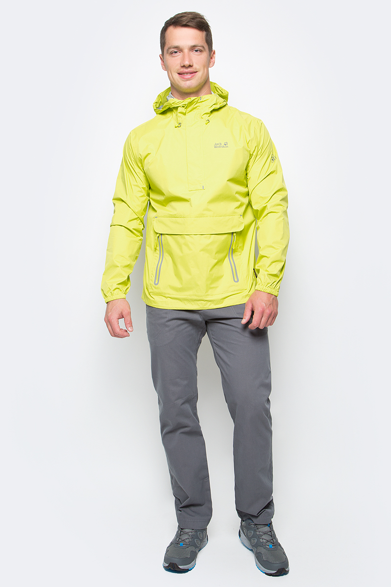 Куртка мужская Jack Wolfskin Cloudburst Smock M, цвет: желтый. 1109181-4088. Размер M (46)1109181-4088Куртка-анорак Cloudburst Smock изготовлена из 100% полиамида. Ткань легкая, дышащая, водонепроницаемая и непродуваемая. Модель имеет длинные стандартные рукава с манжетами на резинке, капюшон с регулировкой объема и воротник на молнии. Спереди расположен большой карман с клапаном, в котором удобно хранить карты, GPS и другие необходимые в походе вещи, а также два кармана на молнии. Такая куртка идеальна для небольших походов в лесу или в горах. Если вдруг вас застанет дождь, то не переживайте - куртка не даст вам промокнуть, и вы с комфортом доберетесь до места назначения. Модель компактно складывается и не занимает много места в рюкзаке.