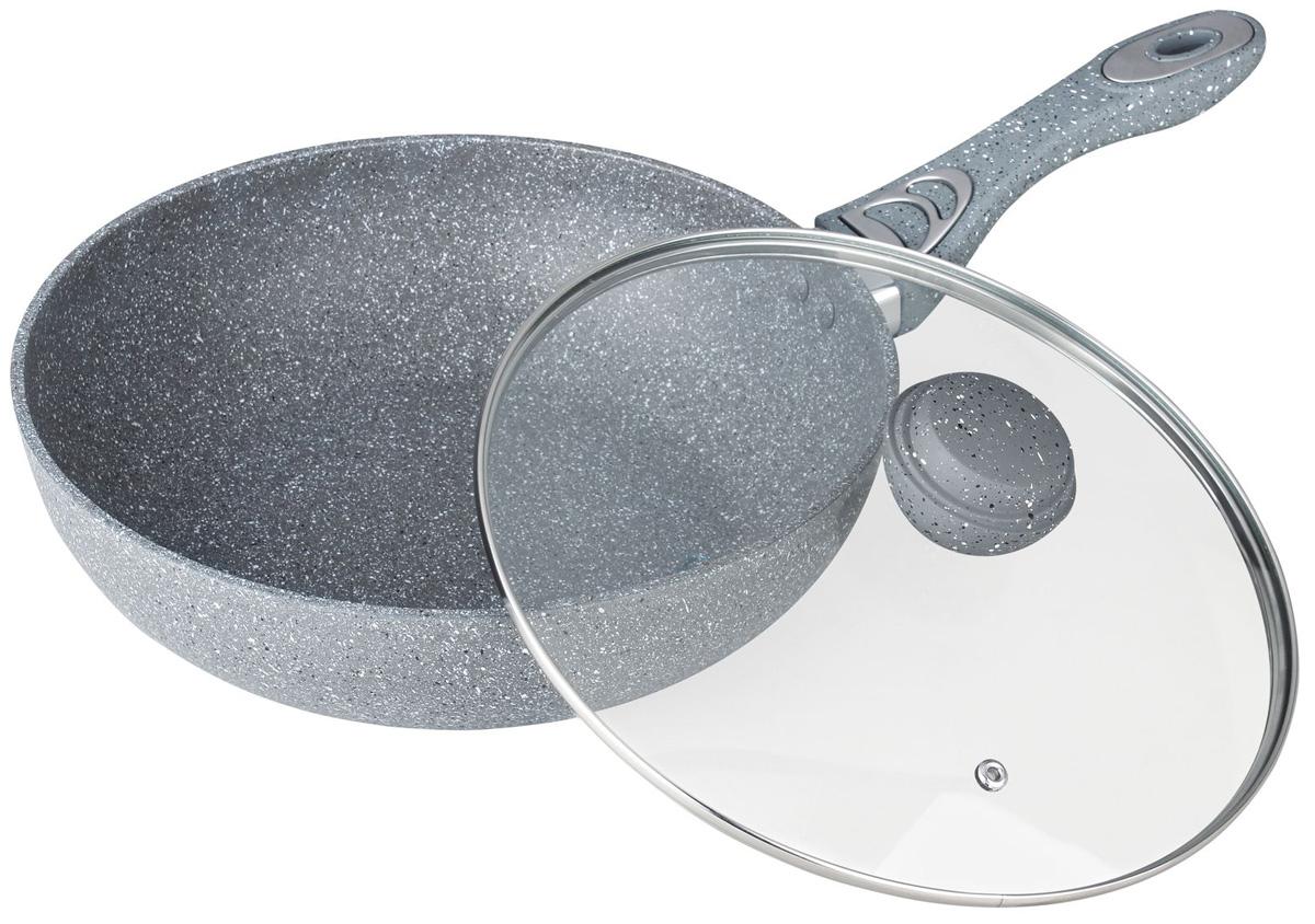 Сковорода ВОК Bekker Silver Marble. BK-7910, 30 смBK-7910Сковорода Bok Bekker Silver Marble со стеклянной крышкой имеет внутри антипригарное серое мраморное покрытие, снаружижаропрочное серое мраморное покрытие. Сковорода выполнена из кованного алюминия. Ручка сковороды бакелитовая с покрытием Soft touchудобно лежит в руке и не скользит.Подходит для всех типов плит и чистки в посудомоечной машине.Диаметр: 30 см.