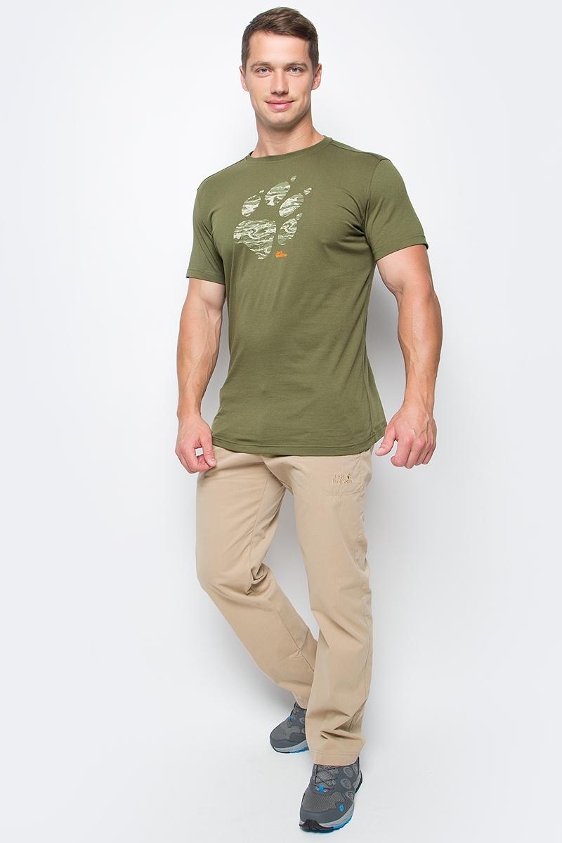 цена Футболка мужская Jack Wolfskin Laguna Paw T M, цвет: оливковый. 1805771-5033. Размер S (42) онлайн в 2017 году