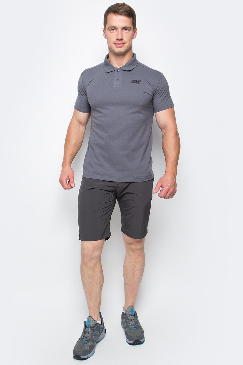 Поло мужское Jack Wolfskin Pique Polo M, цвет: серый. 1804652-6116. Размер XL (52) платье jack wolfskin wahia dress цвет коралловый 1502892 2043 размер xl 50 52