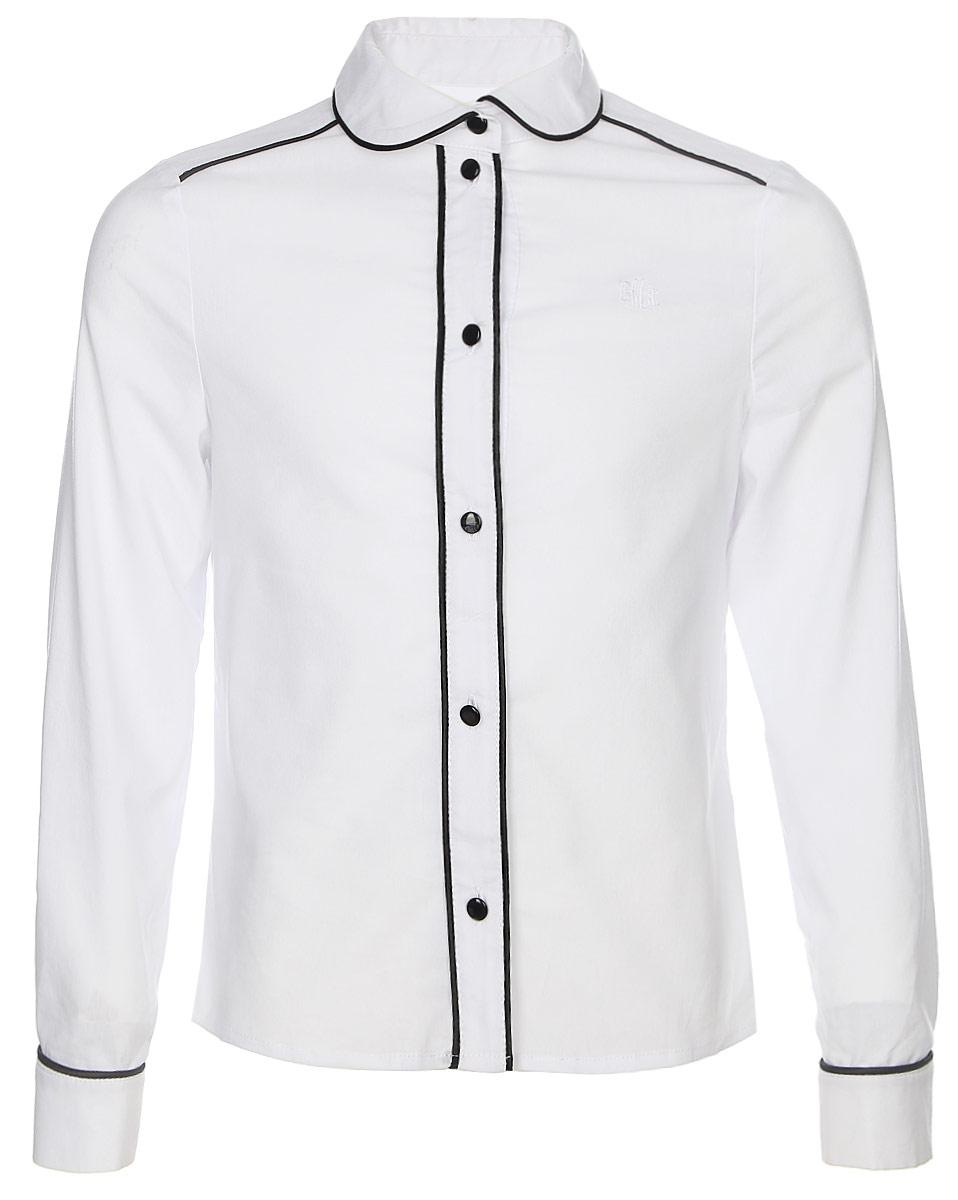 Блузка для девочки Смена, цвет: белый. 16с21. Размер 122/12816с21Блузка для девочки выполнена из смесового хлопка. Модель полуприлегающего силуэта с отложным воротником и длинными рукавами застегивается на пуговицы.