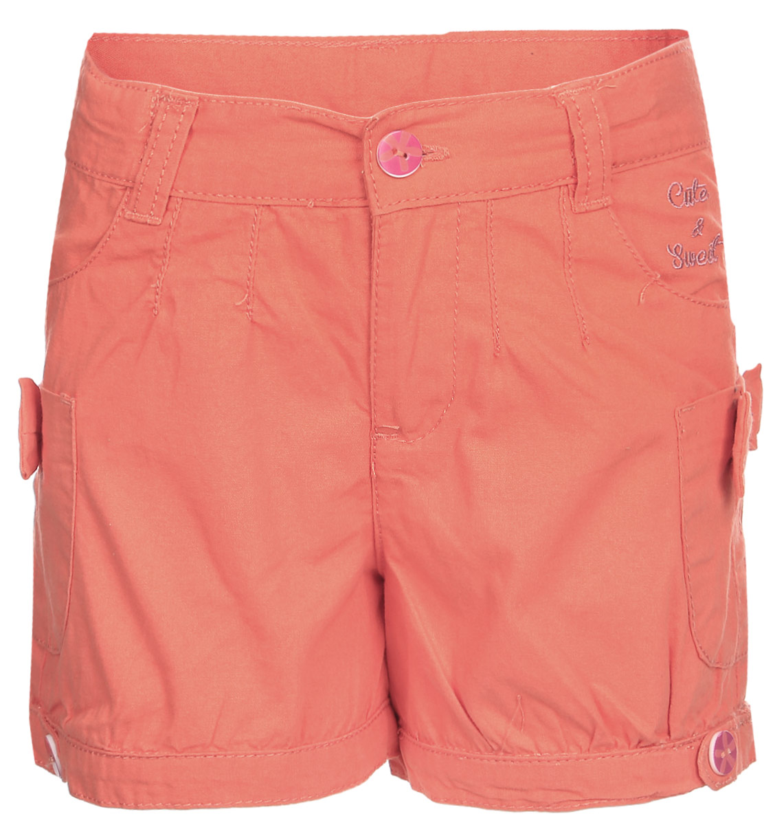 Шорты для девочки Cherubino, цвет: розовый. CK 7T019. Размер 92CK 7T019Шорты для девочки Cherubino из хлопкового текстиля, с карманами. Декорированы пуговицами, вышивкой и бантиками.