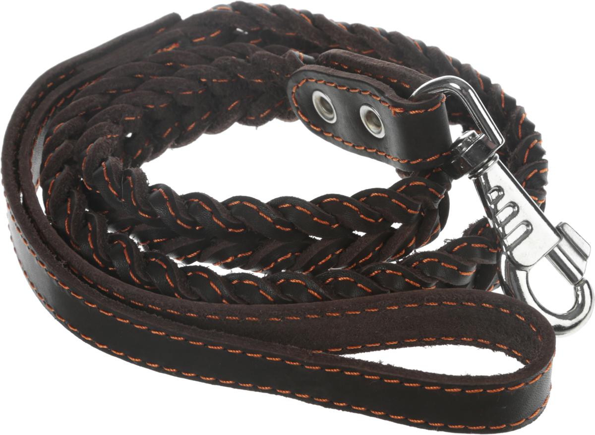 """Поводок для собак Каскад """"Классика"""", цвет: темно-коричневый, ширина 1,5 см, длина 125 см"""