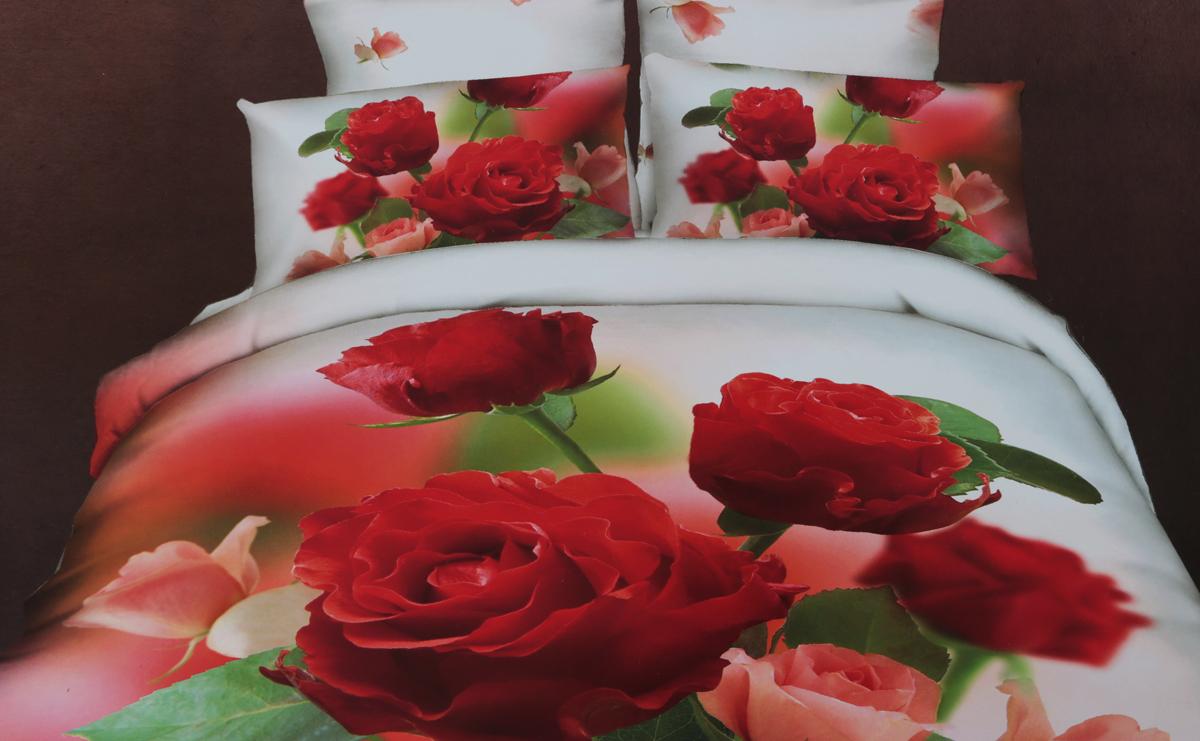 Комплект белья 3D Cleo Садовая роза, евро, наволочки 50 x 70, 70 х 70CL554_Садовая розаКомплект белья 3D Cleo Садовая роза выполнен из высококачественного сатина. Сатин - это ткань из 100% хлопка, сатинового переплетения, имеет гладкую, шелковистую лицевую поверхность. Сатин изготавливается из крученой хлопковой нити двойного плетения. Сатин обладает рядом преимуществ: приятен на ощупь, не электризуется и не скользит, прекрасно сохраняет форму и не мнется, отлично пропускает воздух, не садится при стирке, не утрачивает яркости красок, не вызывает раздражения. Благодаря уникальному способу нанесения рисунка на ткань создается эффект 3D, краски становятся ярче, а дизайны реалистичнее. Вы погружаетесь в уникальный мир цветов, пейзажей и фауны. Комплект состоит из пододеяльника, двух наволочек и простыни. Размеры пододеяльника: 200 х 220 смПростыни: 220 х 245 смНаволочки: 70 х 70, 50 х 70 см