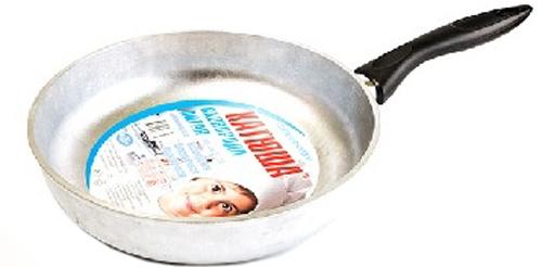 Сковорода Катюша, литая. Диаметр 26 смск3126Сковорода Катюша, выполненная из высококачественного литого алюминия с утолщенным дном, оснащена удобной пластиковой ручкой. Благодаря хорошей теплопроводности алюминия, пища не пригорает и не прилипает к стенкам. Подходит для жарки деликатных продуктов, например, рыбы и овощей. Легко чистится. Данная сковородка отличается долговечностью и легкостью. Подходит для всех плит, кроме индукционных. Можно мыть в посудомоечной машине. Диаметр сковороды (по верхнему краю): 26 см.Толщина стенок: 4,5 мм.Толщина дна: 6 мм.