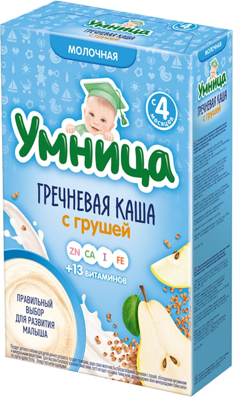 Умница каша гречневая с грушей молочная, с 4 месяцев, 200 г сладкий новогодний подарок умница 600 г
