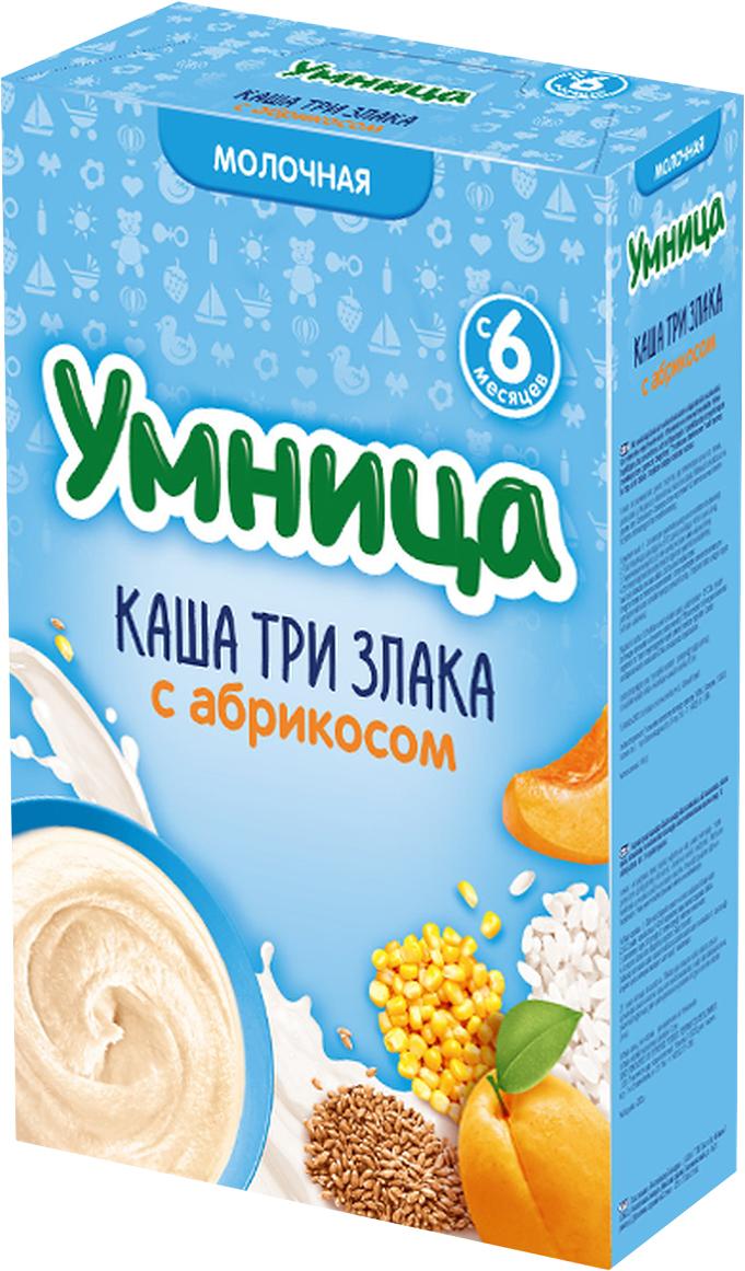 Умница каша Три злака с абрикосом молочная, с 6 месяцев, 200 г76006430Каша состоит из трех злаков: мука рисовая, пшеничная, кукурузная. Благодаря высокой технологии обработки злаков каша легко усваивается и переваривается. Рис хорошо усваивается из-за низкого содержания клетчатки, обволакивает желудок. Кукуруза содержит легкоусвояемые углеводы, витамины и полезные вещества. Пшеница укрепляет иммунитет, благодаря содержанию в ней клетчатки, стимулирует работу ЖКТ. Абрикос полезен детям для роста, поскольку в нем много каротина. В плодах абрикоса содержится большое количество флавоноидов, способствующих укреплению стенок кровеносных сосудов.Особенности:13 витаминов + Zn, Fe, I и Ca.