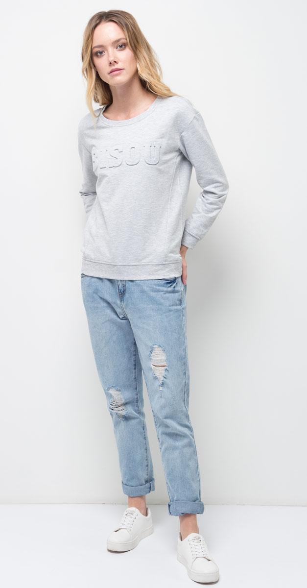 Толстовка женская Sela, цвет: светло-серый меланж. St-313/1097-7310. Размер XS (42)