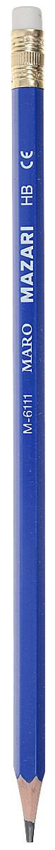 Mazari Карандаш чернографитный Maro с ластиком цвет синий2361776_синийЧернографитный заточенный карандаш Mazari Maro - идеальный инструмент для письма, рисования и черчения.Шестигранный корпус выполнен из пластика.Высококачественный ударопрочный грифель не крошится и не ломается при заточке.На конце карандаша расположен ластик. Он легко и аккуратно удаляет надписи, сделанные карандашом.