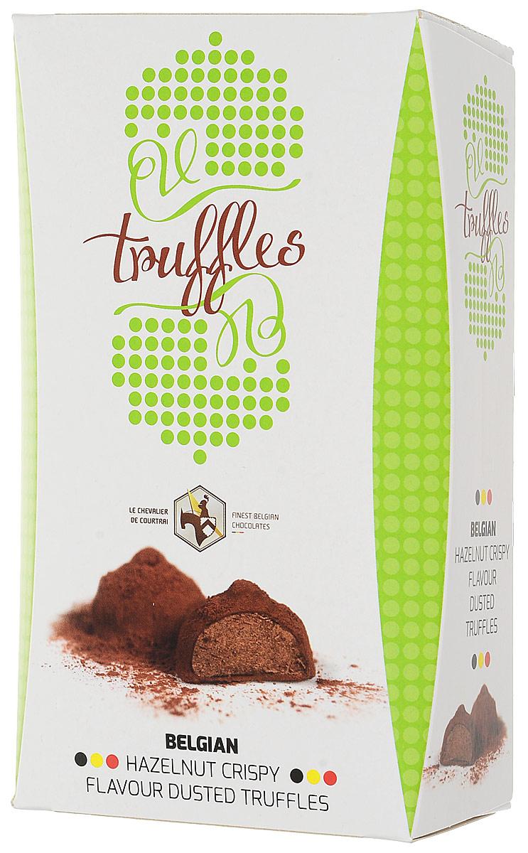 Le Chevalier de Courtrai трюфель хрустящий лесной орех конфеты шоколадные с начинкой, 157 гМС-00008288Шоколадные конфеты Трюфель с начинкой со вкусом Хрустящий лесной орех. Трюфель из бельгийского шоколада с начинкой из лесного ореха, украшенный какао. С 1949 года компания Vandenbulcke Confiserie NV специализируется на производстве шоколадных конфет, морских ракушек, трюфелей, шоколадных плиток и сезонных подарочных изделий. Сегодня компания представлена более чем в 50 странах мира.