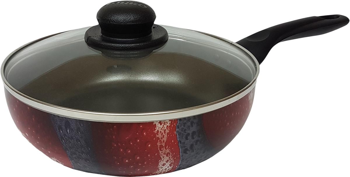 Сковорода Jarko Valentina, с крышкой, с антипригарным покрытием, цвет: черный, красный. Диаметр 26 см. JVaL-126-11