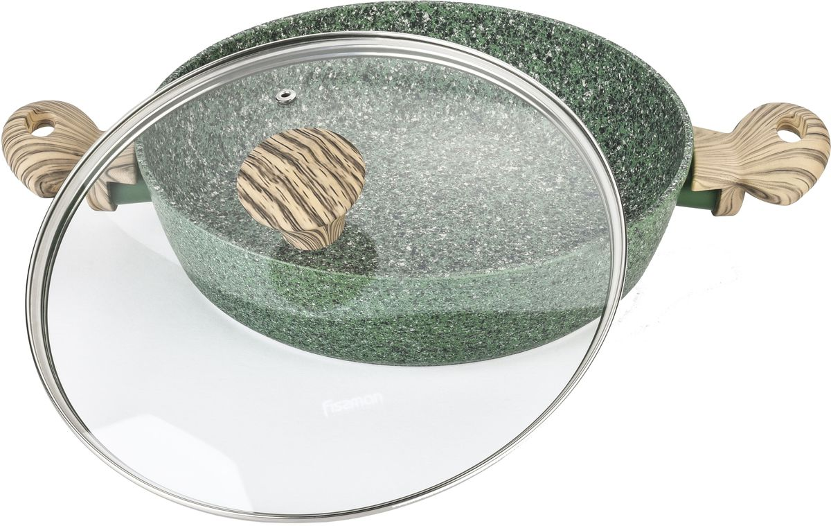 Сотейник Fissman Malachite с крышкой, с антипригарным покрытием. Диаметр 26 смAL-4316.26Сотейник Fissman Malachite изготовлена из литого алюминия с многослойным антипригарным покрытием EcoStone, которое усилено вкраплением каменных частиц. Первый слой улучшает сцепление покрытия с металлом, второй слой - грунтовый, третий слой - более прочное покрытие на основе минеральных компонентов, четвертый слой - высокопрочное антипригарное покрытие, усиленное вкраплением каменных частиц, пятый дополнительный антипригарный слой с керамическими частицами. Главное преимущество покрытия - это устойчивость к царапинам и износу. Также покрытие безопасно для здоровья человека и окружающей среды. Утолщенное дно сковороды рационально распределяет тепло, что позволяет продуктам готовиться быстро и равномерно. Приятная на ощупь ручка из бакелита не нагревается и не скользит в руках. Подходит для газовых, электрических, стеклокерамических, индукционных плит. Можно мыть в посудомоечной машине.