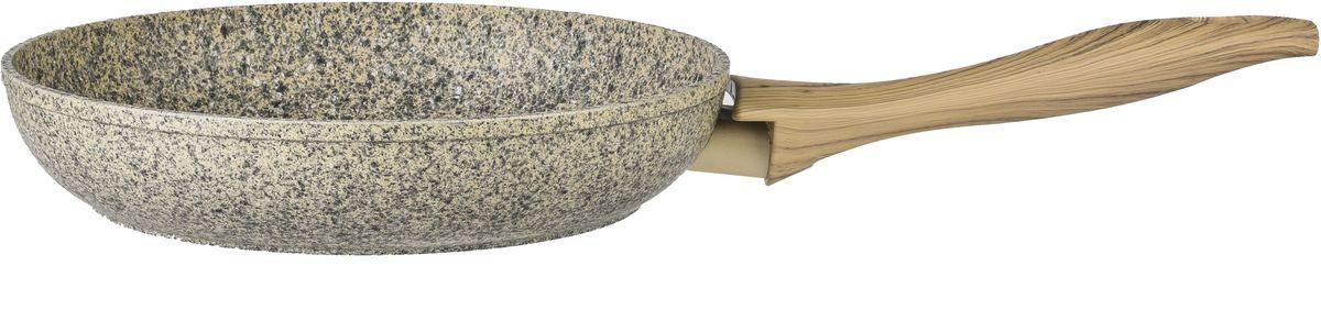Сковорода Fissman Crema Nova, с антипригарным покрытием, цвет: бежевый. Диаметр 26 смAL-4322.26Новая сковорода Fissman Crema Nova изготовлена из литого алюминия с многослойным антипригарным покрытием EcoStone, которое усилено вкраплением каменных частиц. Главное преимущество покрытия - это устойчивость к царапинам и износу. Также покрытие безопасно для здоровья человека и окружающей среды. Утолщенное дно сковороды рационально распределяет тепло, что позволяет продуктам готовиться быстро и равномерно.Приятная на ощупь ручка из бакелита не нагревается и не скользит в руках.Сковорода Fissman Crema Nova - это уникальный модный дизайн и не превзойденное качество.Диаметр: 26 см.