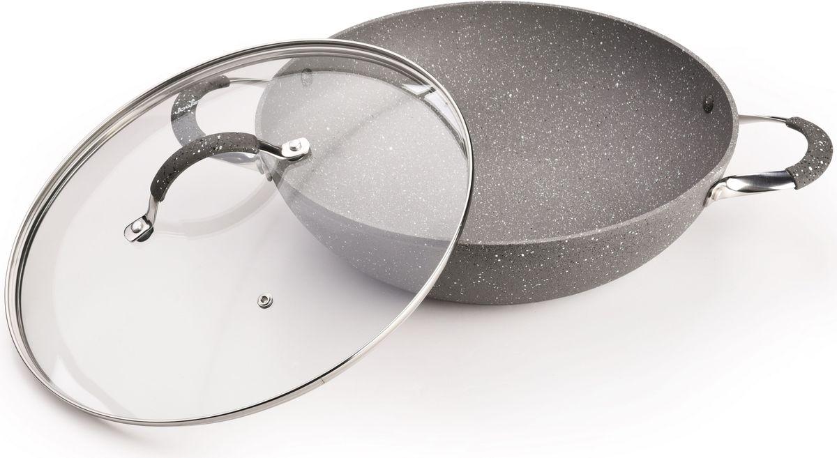 Сковорода-вок Fissman IRON STONE с крышкой, с антипригарным покрытием. Диаметр 32 смAL-4398.32