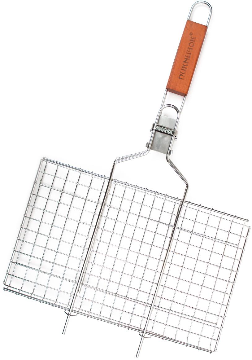 Решетка-гриль Пикничок Семейная реликвия. Альпийская, со съемной ручкой, 34 х 21 см401-399Решетка-гриль Пикничок Семейная реликвия. Альпийская изготовлена из высококачественной нержавеющей стали, поэтому при длительном использовании она не теряет своей формы, а так же вы легко удалите с нее остатки пищи. В решетке-гриль удобно готовить мясо, рыбу, морепродукты и овощи. Средняя решетка-гриль Пикничок Семейная реликвия. Альпийская рассчитана на небольшую компанию. Рукоятка изделия оснащена деревянной вставкой и фиксирующей скобой, которая зажимает створки решетки. При необходимости рукоятку можно снять. Размер рабочей поверхности решетки (без учета усиков): 34 х 21 см.Общая длина решетки (с ручкой): 62 см.