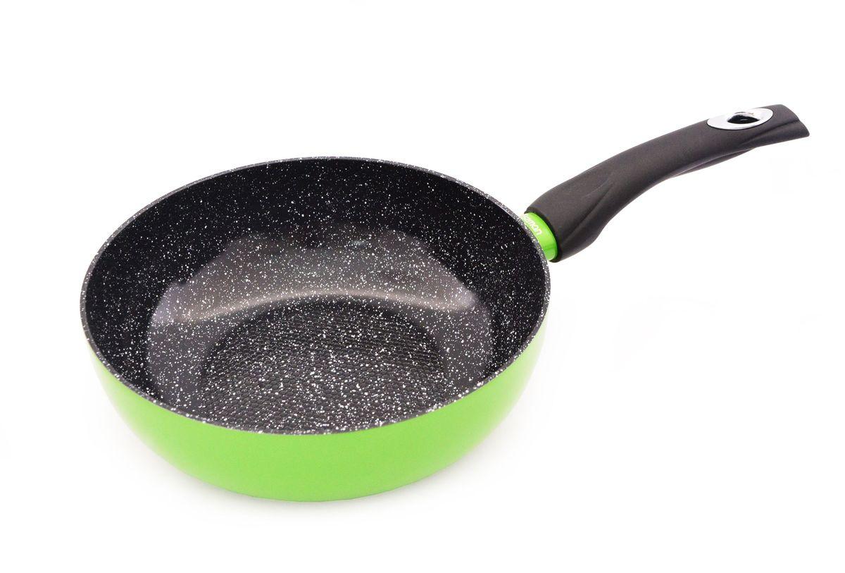 Сковорода Fissman Lime, глубокая, с антипригарным покрытием, цвет: салатовый. Диаметр 24 смAL-4965.24Сковорода Fissman Lime с антипригарным керамическим покрытием - это безопасный, практичный, экологически чистый, безвредный помощник на вашей кухне. На сковороде с антипригарным керамическим покрытием можно готовить без масла или с минимальным его добавлением, что позволяет готовить диетические продукты. Использование сковороды рассчитано на 3000 циклов. При этом чистка сковороды занимает несколько секунд, как внутри, так и снаружи. Ручка из бакелита удобная и не скользит в руке.Яркий, смелый дизайн сковороды Fissman Lime станет украшением вашей кухни и отображением вашей индивидуальности. Высота стенок: 7,7 см. Диаметр: 24 см.