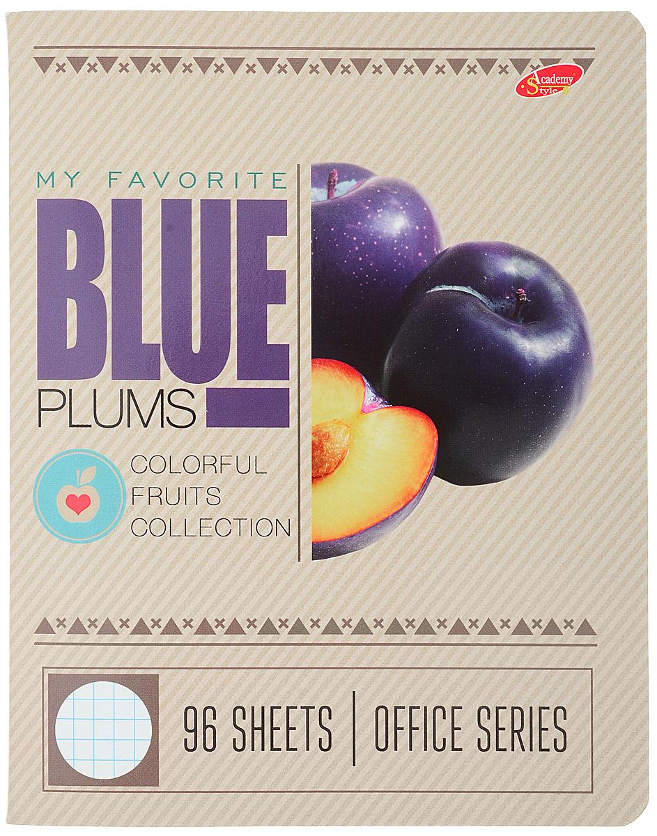 Academy Style Тетрадь Фрукты Blue 96 листов в клетку2228671_BlueТетрадь Academy Style Фрукты. Blue отлично подойдет как школьнику, так и студенту. Обложка тетради выполнена с закругленными краями и из плотного картона.Внутренний блок тетради на двух металлических скрепках состоит из 96 листов белой бумаги с линовкой в клетку голубого цвета с полями.