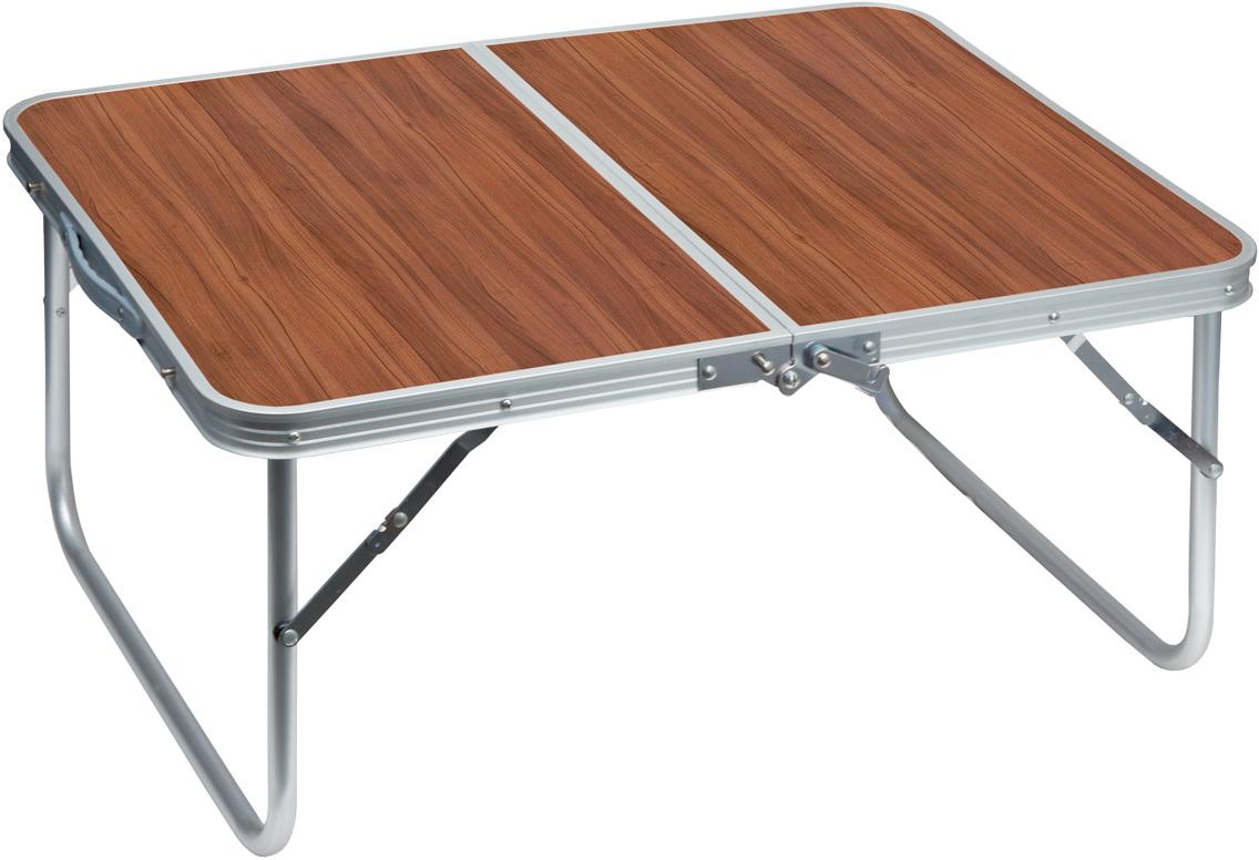 """Складной столик-чемодан """"Пикничок"""" - отличное  решение для комфорта на отдыхе: на нем удобно  нарезать овощи, нанизать мясо на шампуры или играть в  настольные игры. Он изготовлен из высококачественного  металла и пластика. Водостойкое покрытие столика  легко протереть или даже промыть.  Такой столик можно использовать в качестве места для  хранения при перевозке - шампуров, решетки или даже  раскладного мангала.  Установка столика: откройте крючки-фиксаторы возле  ручек столика, раскройте столик, отогните ножки, У- образные крепления ножек выпрямите, зафиксируйте  столешницу крючками-фиксаторами возле линии сгиба  столешницы. После использования: откройте крючки- фиксаторы возле линии сгиба столешницы, сложите  ножки - для этого поочередно надавливайте нижней  частью ладони на середину креплений ножек, уложите  внутрь аксессуары для пикника, закройте столик как  чемодан, зафиксируйте крючками-фиксаторами возле  ручек. Надежные крючки-крепления не позволяют  столику произвольно открыться, когда он используется  как чемодан, или закрыться - когда он используется как  стол.  Размер столешницы: 76 х 55 см. Высота стола: 34,5 см."""