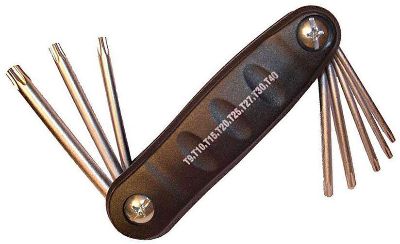Набор ключей Mr.Logo TORX, складной, с отверстием, 8 штX680TX094Набор Mr.Logo TORX состоит из 8 ключей с отверстиями, выполненных из качественногоматериала - хром-ванадий. Ключи в процессе производства подвергается закалке и отпуску иимеют финишное покрытие - хромирование.Удобный пластиковый подвес гарантируетпорядок на рабочем месте. В набор входят ключи: T9, T10, T15, T20, T25, T27, T30, T40.