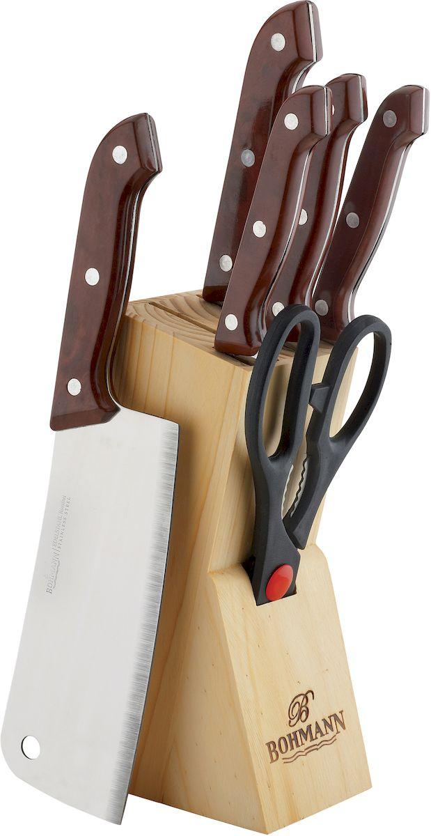 """Набор кухонных ножей """"Bohmann"""" выполнен из высококачественной нержавеющей стали с  эргономичными рукоятками. В комплект входит:  кухонный топорик, нож для мяса, разделочный нож, обвалочный нож, нож для снятия кожуры,  ножницы, деревянная подставка. Такой практичный набор понравится любой хозяйке и будет отличным помощником на кухне."""