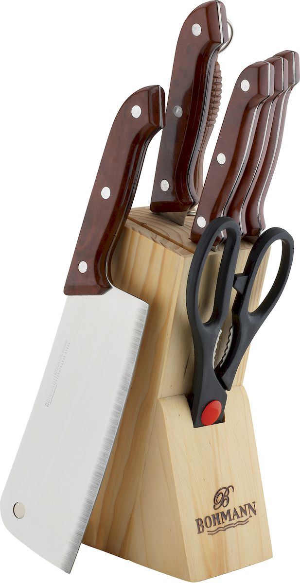 Набор кухонных ножей Bohmann, на подставке, цвет: мраморный, 8 предметов5128BH/MRBНабор кухонных ножей Bohmann выполнен из высококачественной нержавеющей стали сэргономичными рукоятками. В комплект входит:кухонный топорик, нож для мяса, разделочный нож, обвалочный нож, нож для снятия кожуры,ножницы, деревянная подставка, точило. Такой практичный набор понравится любой хозяйке и будет отличным помощником на кухне.