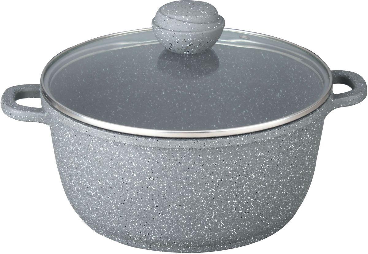Кастрюля Bekker Silver Marble. BK-3815, 4.3 лBK-38154,3 л/24 см. Кастрюля со стеклянной крышкой. Толщина стенки 2,0 мм, дна 4,5 мм, высота 11,5 см. Внутри антипригарное серое мраморное покрытие, снаружи жаропрочное серое мраморное покрытие. Ручка крышки с покрытием Soft touch. Ручки кастрюли из литого алюминия. Подходит для индукц.плит и чистки в посудомоечной машине.Состав: литой алюминий.