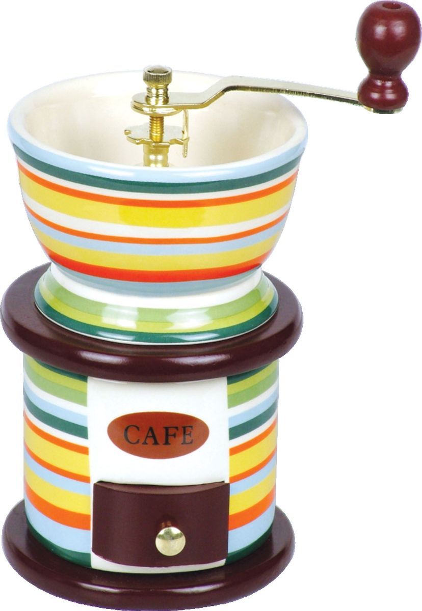 Кофемолка Bekker BK-2517, ручнаяBK-2517Кофемолка Bekker BK-2517, выполненная из дерева и керамики, украшенной ярким рисунком, сочетает в себе эстетичность и функциональность. Она оснащена выдвижным ящичком для молотого кофе, металлической воронкой и удобной элегантной ручкой для помола, внутренний механизм - керамический. Вы сможете регулировать степень помола от мелкого до крупного. Инструкция по регулировке степени помола имеется на упаковке изделия. Такая кофемолка станет незаменимым помощником на вашей кухне.