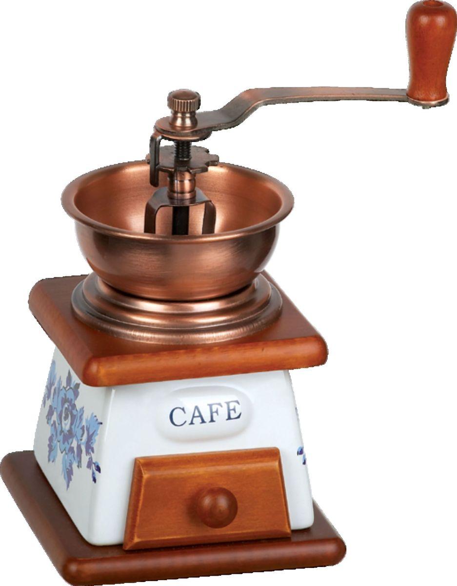 Кофемолка Bekker BK-2519, ручнаяBK-2519Корпус керамический в комбинации с деревом, воронка металлическая медного цвета, механизм керамический, лоток деревянный, регулировка помола.