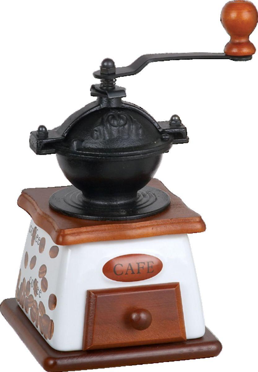 Кофемолка Bekker BK-2523, ручнаяBK-2523Корпус керамический в комбинации с деревом, воронка чугунная, механизм керамический, лоток деревянный, регулировка помола.