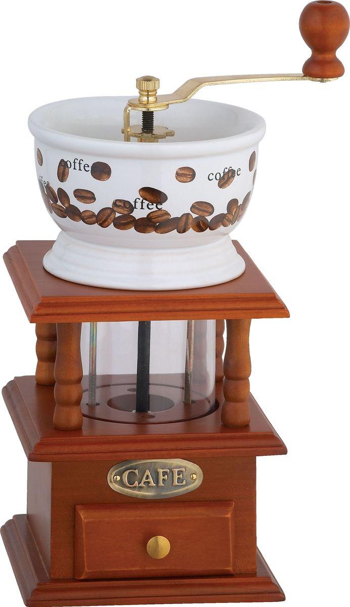 """Кофемолка Bekker """"BK-2528"""", выполненная из дерева и керамики, украшенной ярким рисунком, сочетает в себе эстетичность и функциональность. Она оснащена выдвижным ящичком для молотого кофе, металлической воронкой и удобной элегантной ручкой для помола, внутренний механизм - керамический. Вы сможете регулировать степень помола от мелкого до крупного. Инструкция по регулировке степени помола имеется на упаковке изделия. Такая кофемолка станет незаменимым помощником на вашей кухне"""