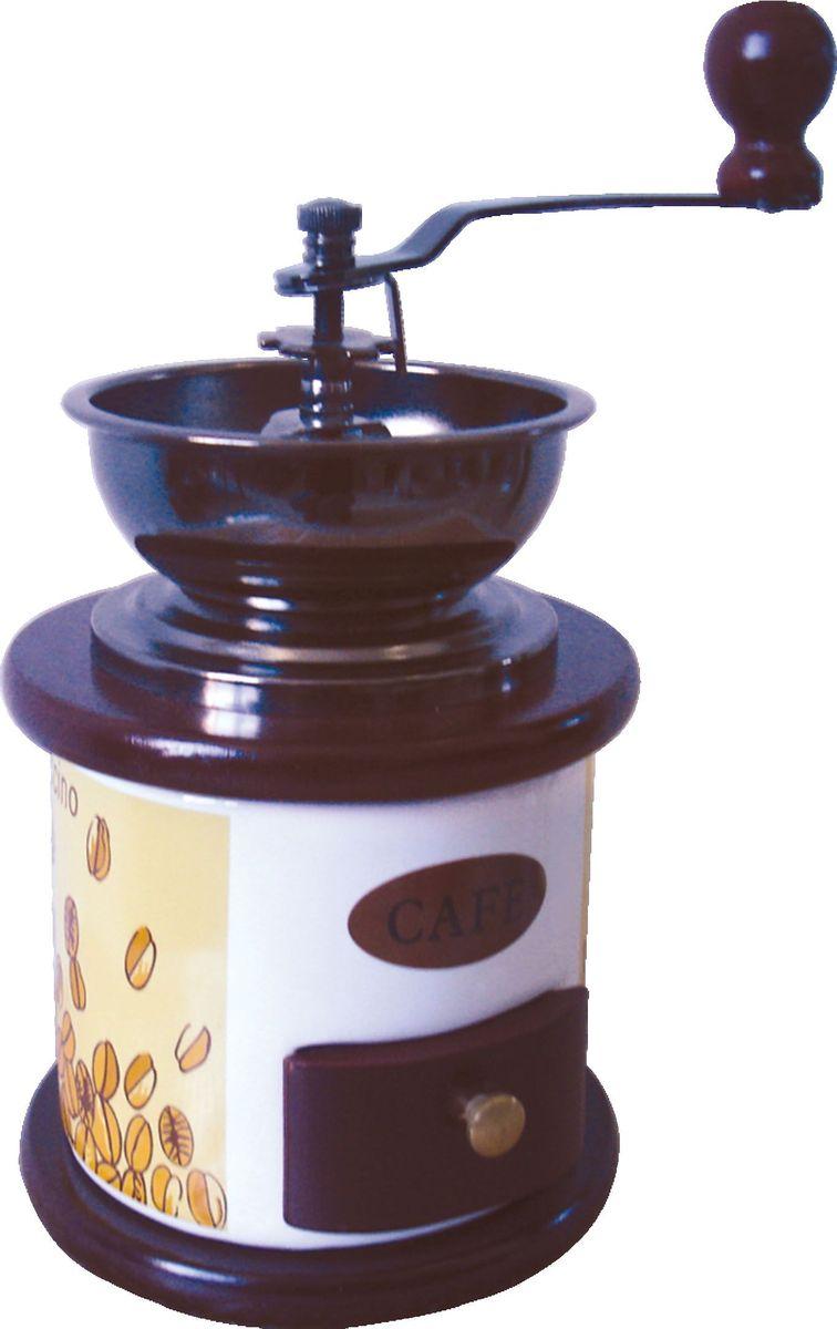 """Кофемолка Bekker """"BK-2535"""", выполненная из дерева и керамики, украшенной изящным рисунком,  сочетает в себе эстетичность и функциональность. Она оснащена выдвижным ящичком для  молотого кофе, металлической воронкой и удобной элегантной ручкой для помола, внутренний  механизм - керамический. Вы сможете регулировать степень помола от мелкого до крупного.  Инструкция по регулировке степени помола имеется на упаковке изделия.  Такая кофемолка станет незаменимым помощником на вашей кухне."""