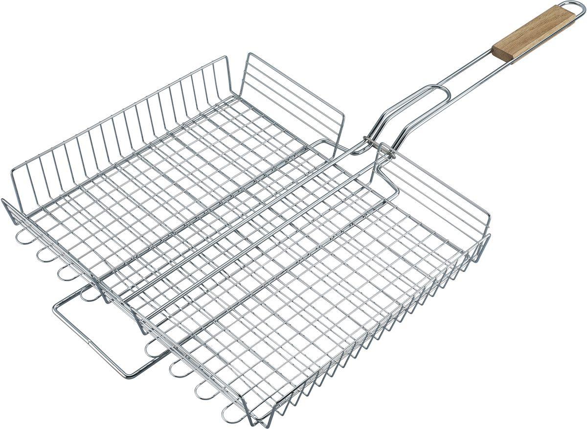 Решетка для барбекю Bekker BK-3113BK-3113Решетка для барбекю Bekker BK-3113 - это очень удобная и незаменимая вещь на отдыхе или на даче. Решетка выполнена из высококачественной стали. Материал не содержит вредных примесей, поэтому совершенно безопасен для здоровья. Удобная деревянная ручка убережет от ожогов и позволит легко управляться с решеткой даже когда она раскалена. Размер: 75 х (40.5 х 34.5) х 5.5 см.Вес: 1,1 кг.