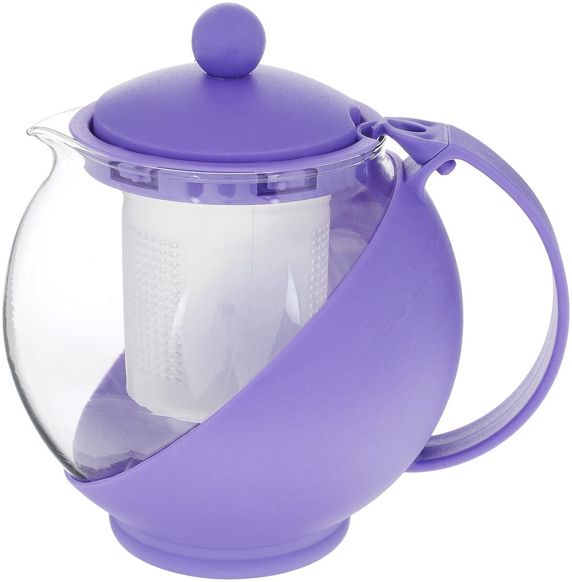 Чайник заварочный Wellberg Aqual, с фильтром, цвет: прозрачный, сиреневый, 750 мл058682Заварочный чайник Wellberg Aqual изготовлен извысококачественного пищевого пластика и жаропрочногостекла. Чайник имеет пластиковый фильтр и оснащенудобной ручкой. Крышка плотно закрывается, а удобный носикпредотвращает проливание жидкости. Чайник прекрасноподойдет для заваривания чая и травяных напитков.Высота чайника (без учета крышки): 11,5 см. Высота чайника (с учетом крышки): 14 см.Диаметр (по верхнему краю): 8 см. Высота фильтра: 6,5 см.