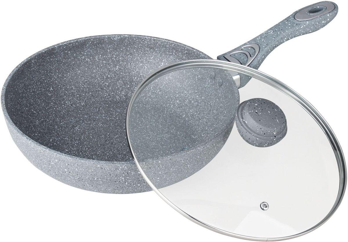 Сковорода ВОК Bekker Silver Marble. BK-7909, 28 смBK-790928с м/3,9 л. Сковорода ВОК со стеклянной крышкой. Толщина стенки 2,0 мм, дна 4,0 мм, высота 8 см. Внутри антипригарное серое мраморное покрытие, снаружи жаропрочное серое мраморное покрытие. Ручка крышки с покрытием Soft touch. Ручки сковороды бакелитовые с покрытием Soft touch. Подходит для индукц.плит и чистки в посудомоечной машине. Состав: кованый алюминий.