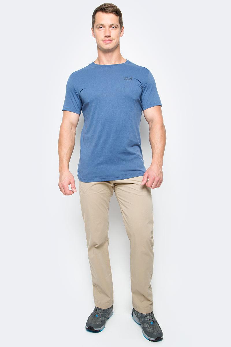 цена Футболка мужская Jack Wolfskin Essential T M, цвет: синий. 1805781-1588. Размер S (42) онлайн в 2017 году