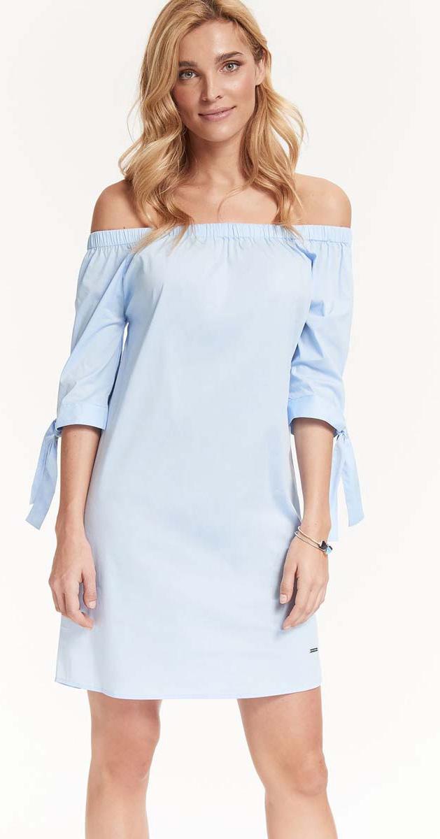 Платье Top Secret, цвет: голубой. SSU1914BL. Размер 38 (46)SSU1914BLИзысканное платье Top Secret изготовлено из хлопка с добавлением эластана и полиамида. Изделие имеет вырез кармен, который подчеркивает красоту декольте. Это модное и удобное платье станет превосходным дополнением к вашему гардеробу. Модель подарит вам удобство и поможет вам подчеркнуть вкус и неповторимый стиль.