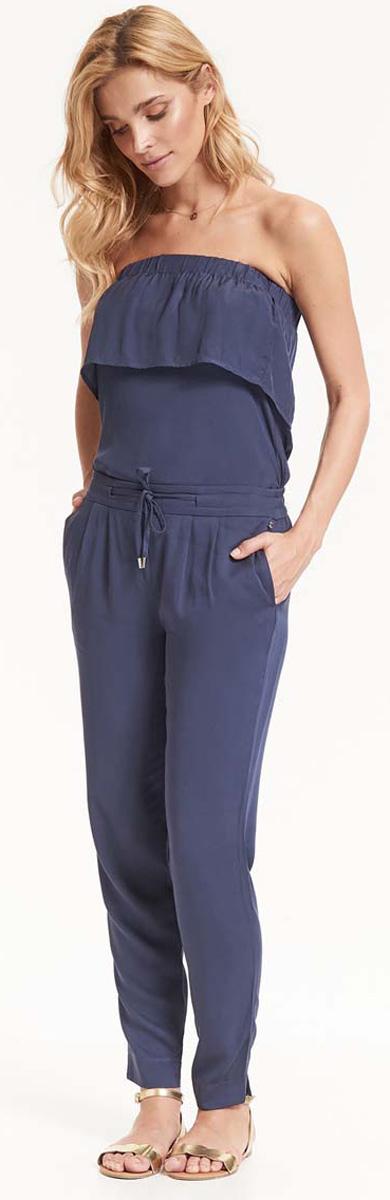 Брюки женские Top Secret, цвет: темно-синий. SSP2576GR. Размер 40 (48)SSP2576GRСтильные зауженные брюки Top Secret со средней посадкой - идеальный вариант на каждый день. Модель изготовлена из вискозы и дополнена в поясе утягивающим шнурком. Спереди по бокам имеются прорезные карманы.Модные и комфортные брюки послужат отличным дополнением к вашему гардеробу, в них вы всегда будете чувствовать себя уютно и комфортно.