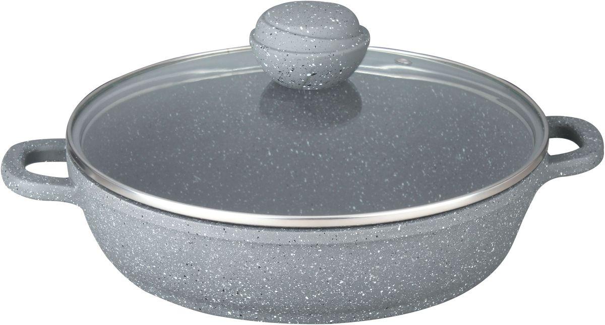Сотейник Bekker Silver Marble. BK-3802, 28 смBK-380228 см/3,7 л. Сотейник со стеклянной крышкой.Толщина стенки 2,0 мм, дна 4,5 мм, высота 7,5 см. Внутри антипригарное серое мраморное покрытие, снаружи жаропрочное серое мраморное покрытие. Ручка крышки с покрытием Soft touch. Ручки сотейника из литого алюминия. Подходит для индукц.плит и чистки в посудомоечной машине. Состав: литой алюминий.