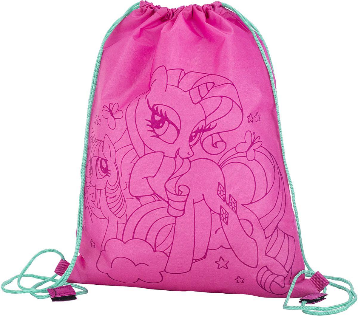 My Little Pony Сумка для сменной обуви MPEB-MT2-883MPEB-MT2-883Мешок для переноски обуви, выполнен из плотного водостойкого материала, затягивается сверху шнуром-лямкой и носится, как рюкзак. Размер 43 х 34 х 1 см.
