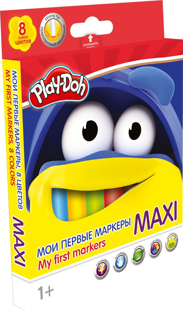 Play-Doh Набор фломастеров Maxi 8 цветовPDEB-US1-5MB-8Набор фломастеров Maxi с безопасным наконечником. Высококачественный нетоксичный пластик, утолщенная форма корпуса, нейлоновый стержень, безопасный наконечник, сочные цвета, увеличенное содержание чернил, улучшенный пишущий узел. Данные фломастеры разработаны специально для малышей от 1 года! Фетровый наконечник закругленной формы выдерживает самый сильный нажим и удар. Рисует под любым углом.Колпачок - вентилируемый, в цвет наконечника, непрозрачный.На корпусе фломастера – печать под цвет наконечника, все фломастеры белого цвета. Упаковка – коробка из мелованного картона с 4С печатью и европодвесом.