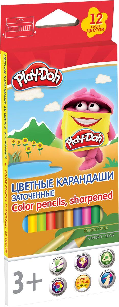 Play-Doh Набор цветных карандашей 12 цветов PDEB-US2-3QP-12PDEB-US2-3QP-12Цветные карандаши Play-Doh откроют юным художникам новые горизонты для творчества, а также помогут отлично развить мелкую моторику рук, цветовое восприятие, фантазию и воображение. Эргономичная трехгранная форма корпуса прививает навык правильно держать пишущий инструмент и удобна для маленьких детских ручек. Специальное покрытие и лакировка уменьшает скольжение, что делает процесс рисования максимально комфортным. Мягкий ударопрочный грифель не ломается и не крошится при заточке.Набор включает 12 заточенных карандашей ярких насыщенных цветов. Длина карандаша: 17,8 см.Диаметр грифеля: 3 мм.