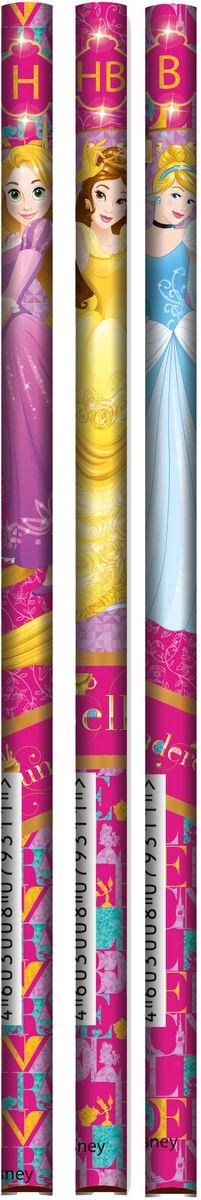 Disney Princess Набор карандашей простых чернографитных 3 штPREB-US1-102-H3Набор карандашей простых чернографитных, 3 шт., твердость грифеля - H, HB, B; упакован ПП пакет с подвесом. Размер 24 х 6 х 0,7 см.