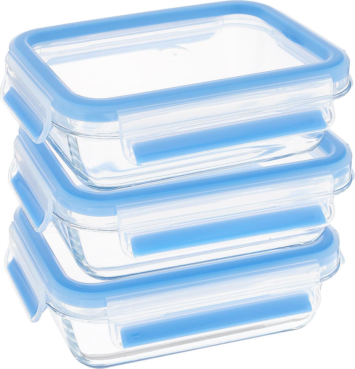 Набор контейнеров Emsa Clip&Close Glass, цвет: голубой, прозрачный, 500 мл, 3 шт514170Набор контейнеров с крышками Emsa Clip&Close Glass для хранения продуктов изготовлен из закалённого и абсолютно прозрачного стекла. Не впитывает запахи и не изменяет цвет. Это абсолютно гигиеничный продукт, который подходит для хранения даже детского питания.Материал чаши диамантовое боросиликатное стекло, сделанное в Европе, дает возможность использовать контейнер для приготовления пищи в духовке с температурой до 400°C. Крышка изготовлена из высококачественного антибактериального пищевого пластика, имеющего сертификат BPA-free. - 100% герметичность - идеально не только для хранения, но и для транспортировки пищи. Герметичность достигается за счет специальных силиконовых уплотнителей в крышке, которые позволяют использовать контейнер для хранения не только пищи, но и жидкости. В таком контейнере продукты долгое время сохраняют свою свежесть - до 4-х раз дольше по сравнению с обычными, в том числе и вакуумными контейнерами. - 100% гигиеничность - уникальная технология применения медицинского силикона в уплотнителе крышки: никаких полостей - никаких микробов. Изделие снабжено крышкой, плотно закрывающейся на 4 защелки. - 100% удобство - прозрачные стенки позволяют просматривать содержимое, сохранение пространства за счёт лёгкой установки контейнеров друг на друга.Изделие подходит для домашнего использования, для пикников, поездок, отдыха на природе, его можно взять с собой на работу или учебу. Можно использовать в духовках, СВЧ-печах, холодильниках, посудомоечных машинах, морозильных камерах. Размеры контейнеров: 17,5 х 12 х 5,9 см.